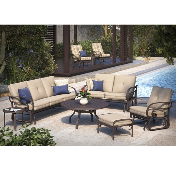 Homecrest Emory Cushion Low Back Sofa Glider Set - HC-EMORY-SET2