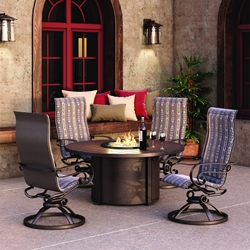 Homecrest Emory Sling Swivel Rocker Dining Set with Fire Pit Dining Table - HC-EMORYSLING-SET2