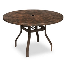 Homecrest Hammered Metal 42 inch Round Balcony Table with Angled Legs - 3842RBMH-NU