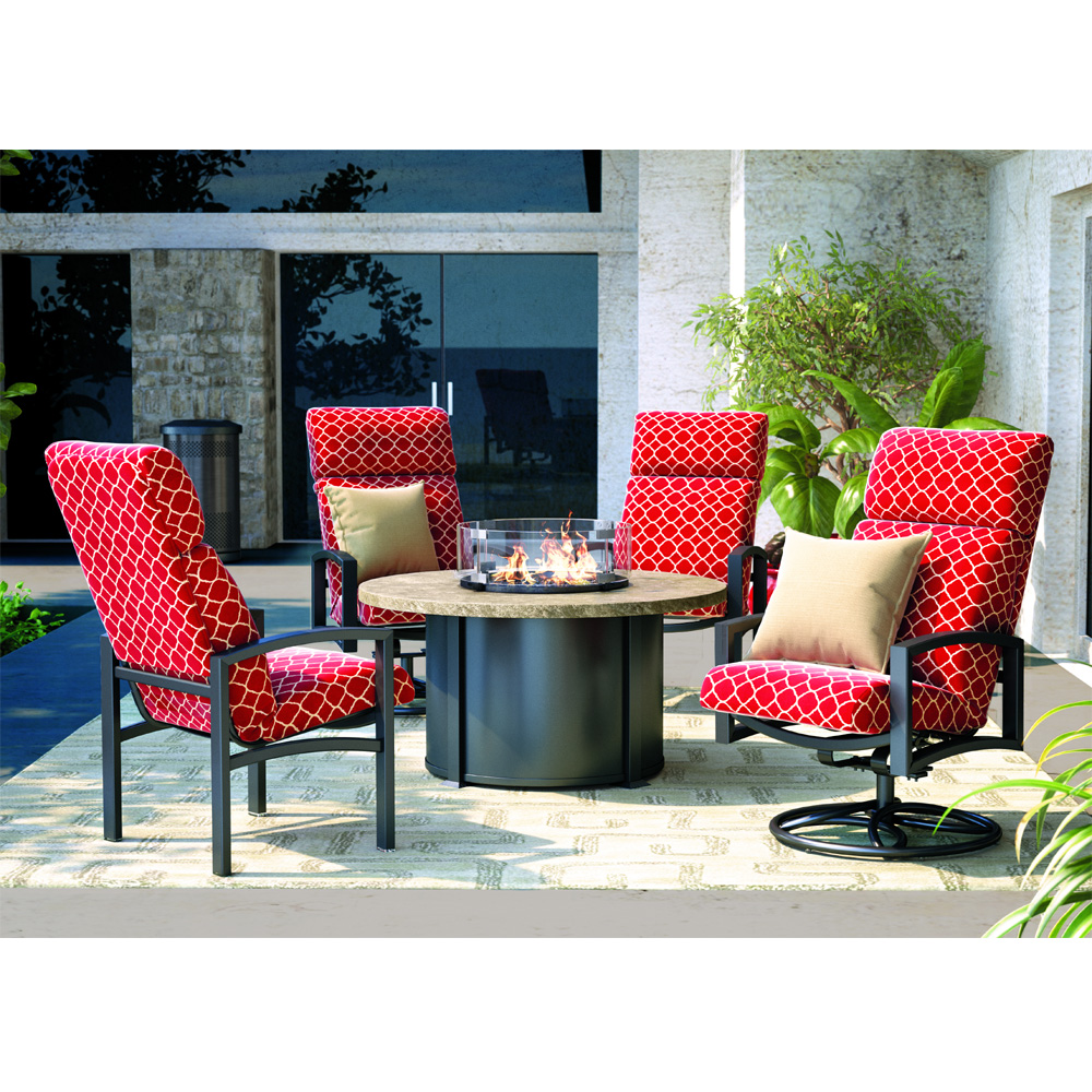 Homecrest Havenhill Cushion Patio Set with Sandstone Chat Fire Table - HC-HAVENHILL-SET8