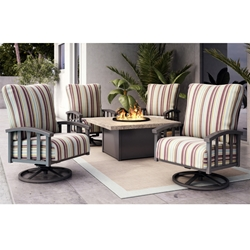 Homecrest Liberty Swivel Rocker Fire Table Patio Set - HC-LIBERTY-SET4