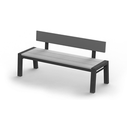 "Homecrest Maddox 22"" x 64"" Rectangular Cafe Bench with Back - 282264B"