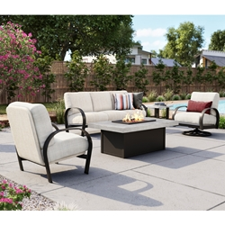 Homecrest Magenta Cushion Outdoor Patio Set with Concrete Fire Table - HC-MAGNETA-SET3