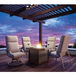 Homecrest Palisade Cushion Fire Table Patio Set - HC-PALISADE-SET2