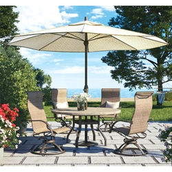 Homecrest Stella High Back Swivel Rocker Outdoor Dining Set with Slate Dining Table - HC-STELLA-SET1