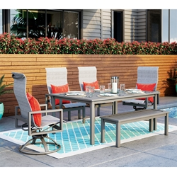 Homecrest Sutton Sling Patio Dining Set with Bench - HC-SUTTON-SET1