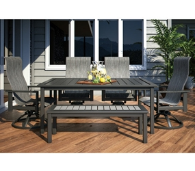 Homecrest Sutton Sling Modern Patio Dining Set For 6 Hc Set2