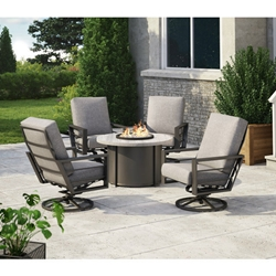 Homecrest Sutton High Back Swivel Rocker Patio Set with Timber Fire Table - HC-SUTTON-SET7