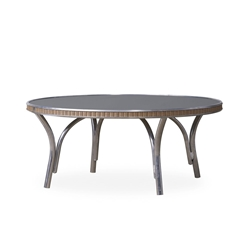 "Lloyd Flanders All Seasons 33"" Round Cocktail Table with Charcoal Glass - 124344"
