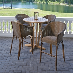 Lloyd Flanders All Seasons Wicker Bar Set with Teak Table - LF-ALLSEASONS-SET2