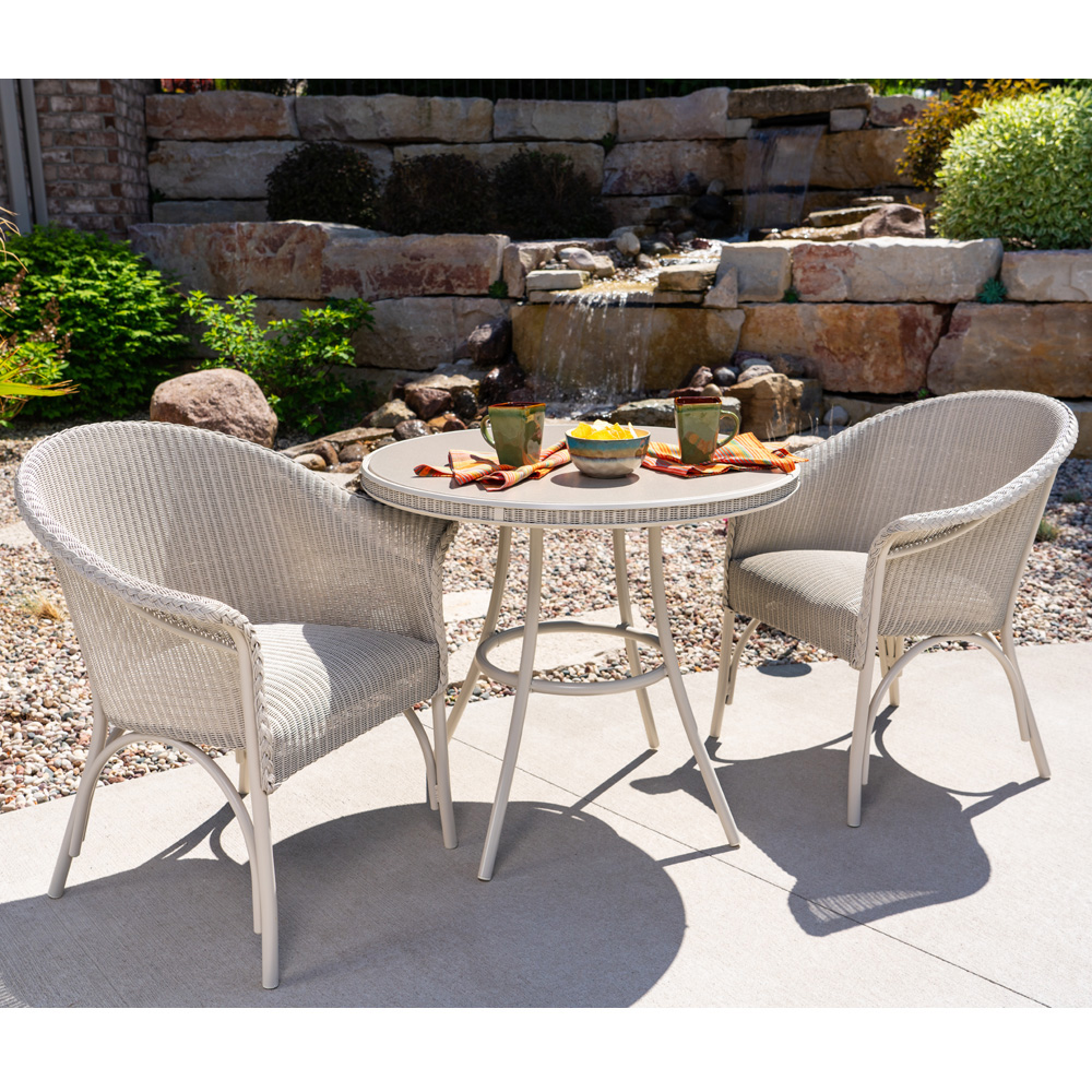Phenomenal Lloyd Flanders All Seasons Wicker Bistro Set With Teak Table Onthecornerstone Fun Painted Chair Ideas Images Onthecornerstoneorg