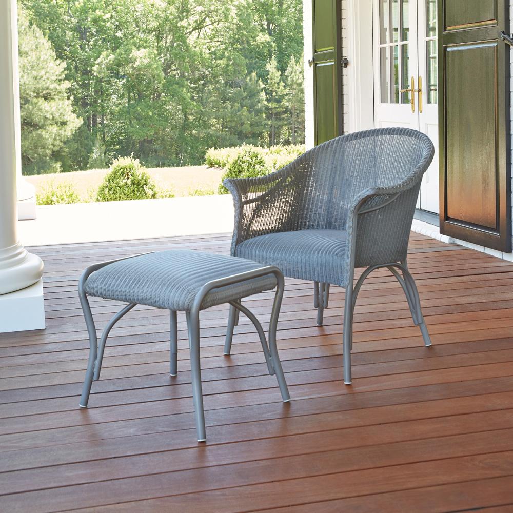 Lloyd Flanders All Seasons Wicker Lounge Chair And Ottoman Set Lf Allseasons Set7
