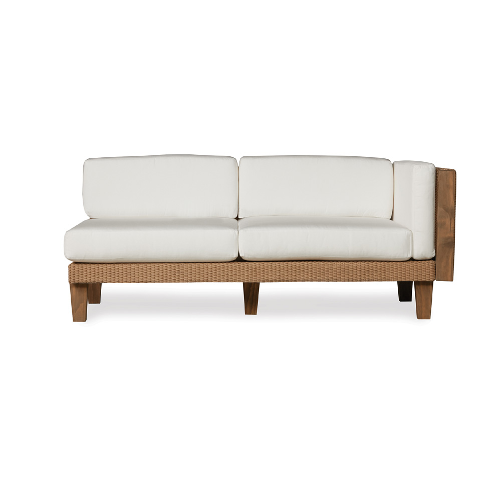 Lloyd Flanders Catalina Wicker Sectional With Teak Accents Lf Catalina Set6