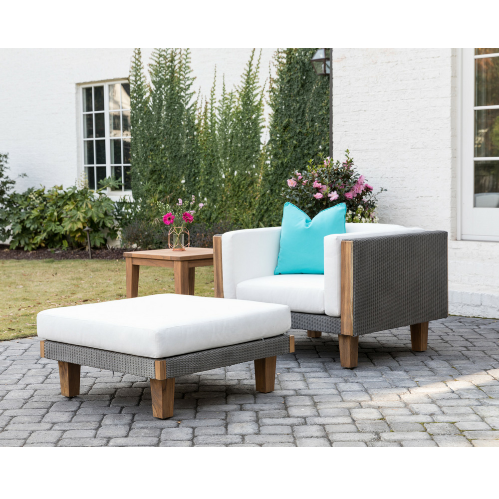 Lloyd Flanders Catalina Wicker Lounge Chair and Ottoman Set with Teak Side Table - LF-CATALINA-SET7