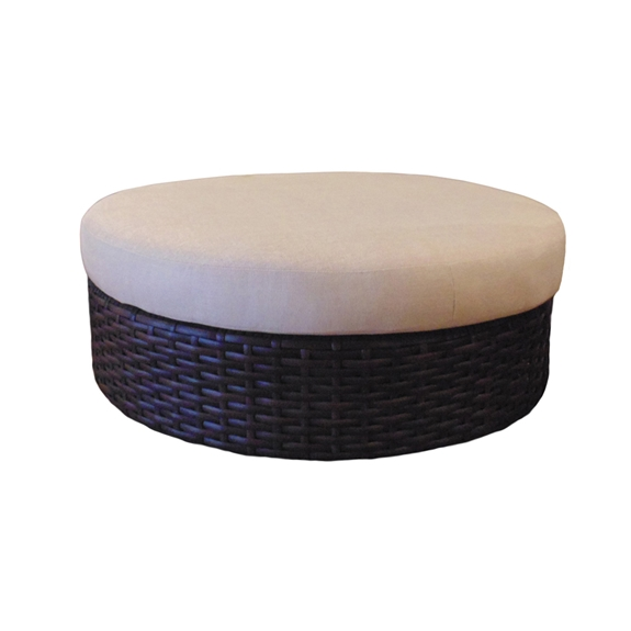 Brilliant Lloyd Flanders Contempo Castered Round Vinyl Wicker Ottoman Pabps2019 Chair Design Images Pabps2019Com