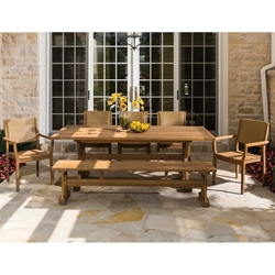 Lloyd Flanders Teak Dining Set With Chairs And Bench Lf