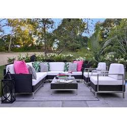 Lloyd Flanders Elements Outdoor Sectional and Lounge Chair Set - LF-ELEMENTS-SET14