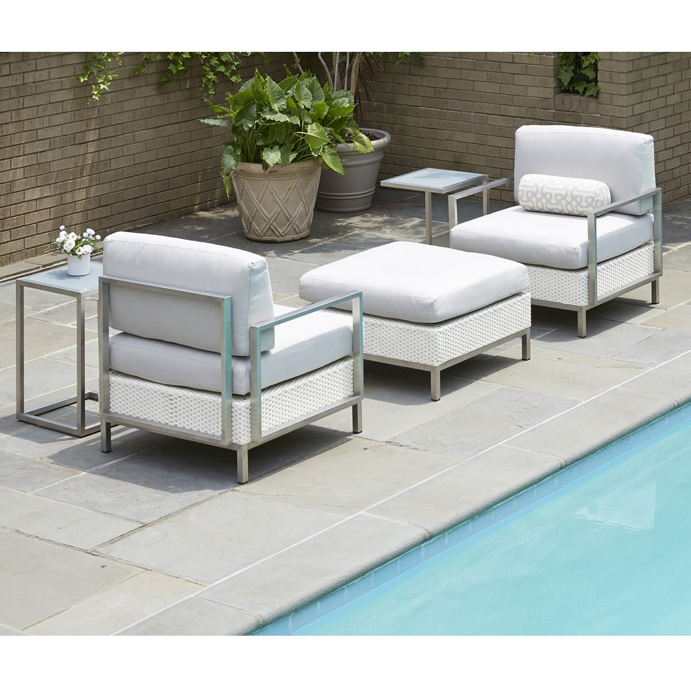 Lloyd Flanders Elements Modern Outdoor Wicker Lounge Chair and Ottoman Set - LF-ELEMENTS-SET17