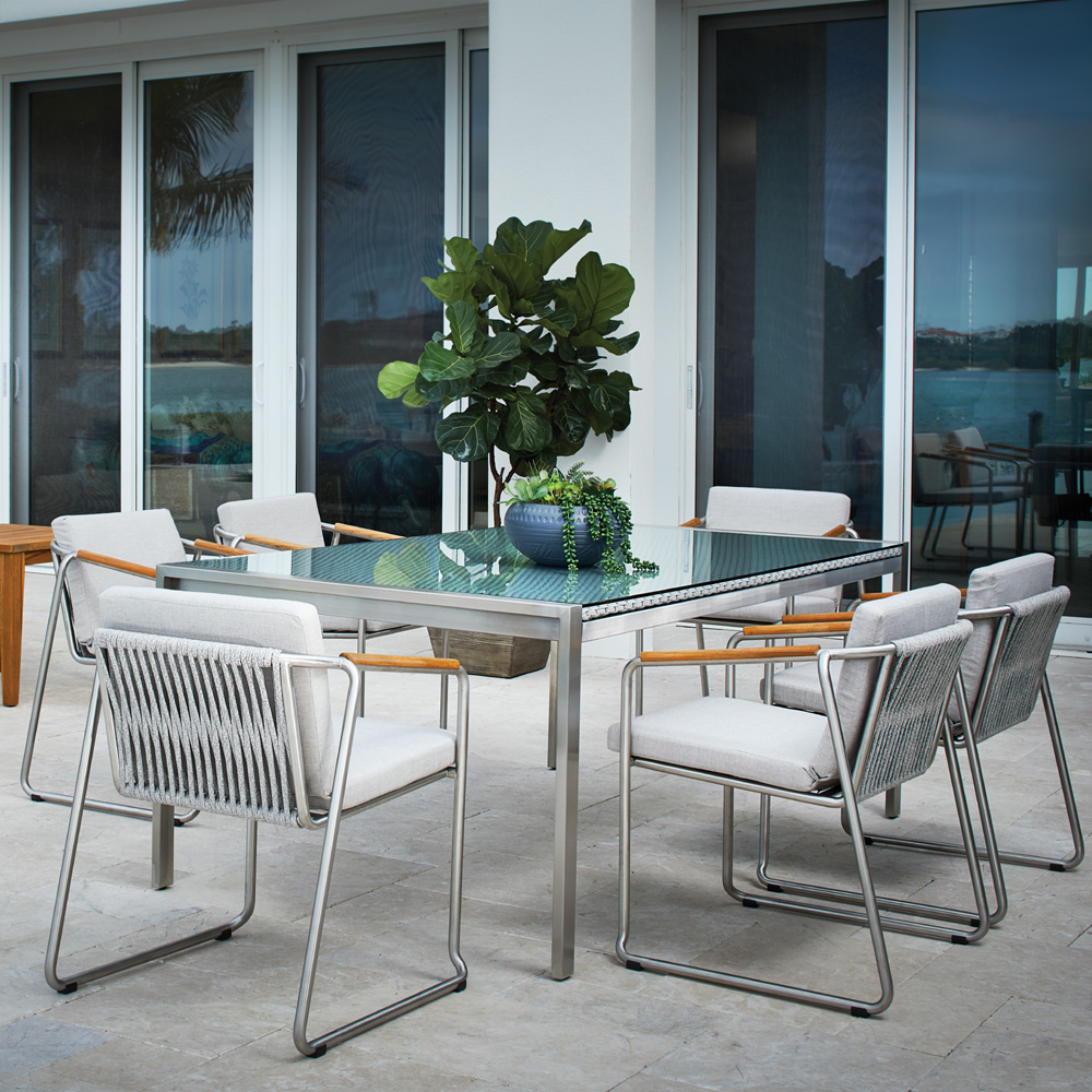 Lloyd Flanders Elevations Dining Set for 6 with Elements Table - LF-ELEVATION-SET1