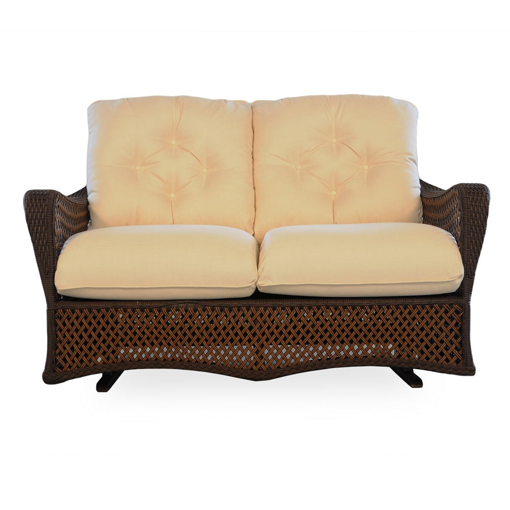 Lloyd Flanders Grand Traverse Woven Vinyl Loveseat Glider And Lounge Chair Set Lf