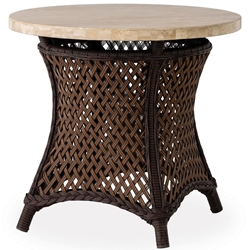 "Lloyd Flanders Grand Traverse 24"" Round End Table with Light Travertine Top - 71524"