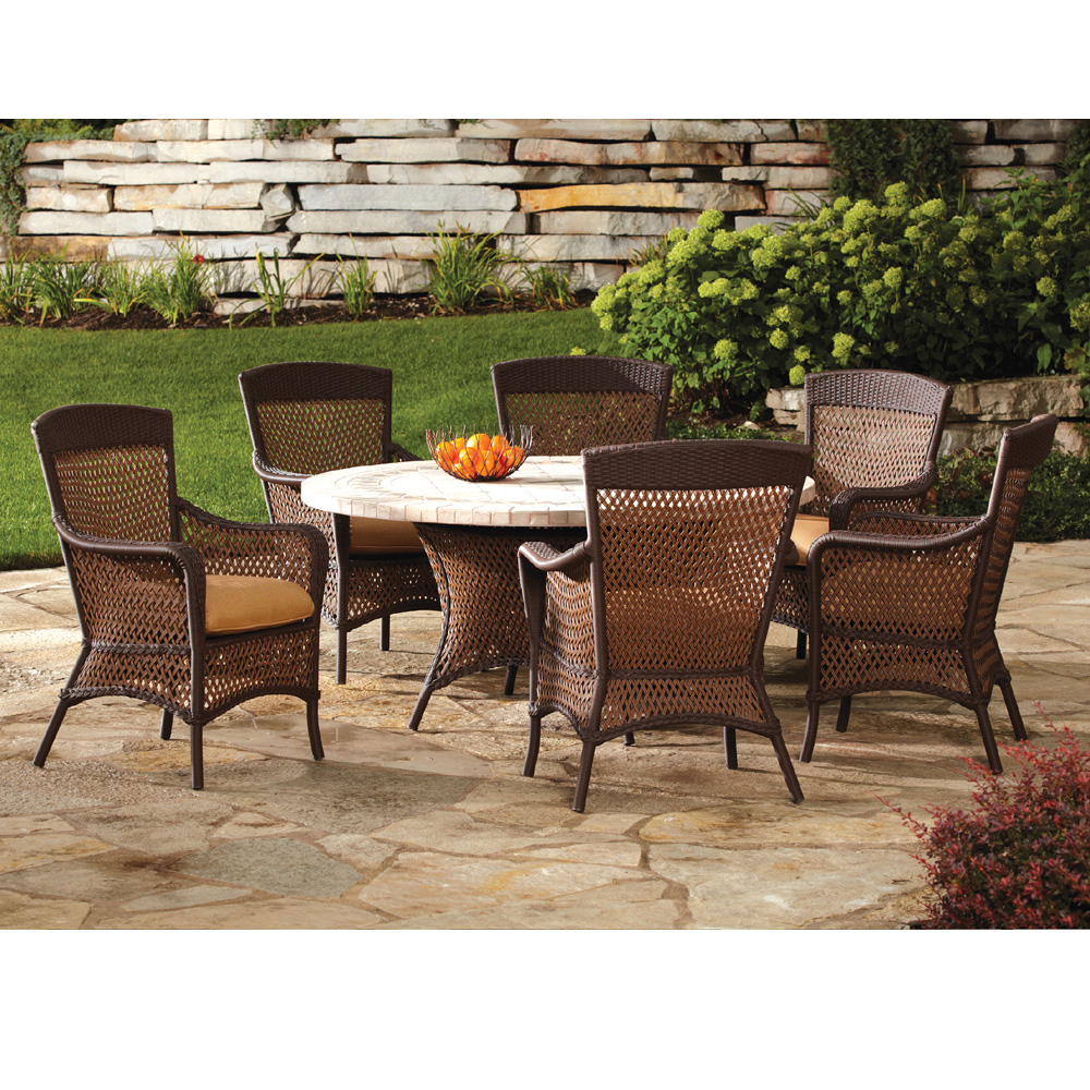 Lloyd Flanders Grand Traverse Woven Vinyl Wicker Dining