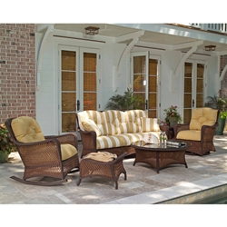 Lloyd Flanders Grand Traverse Sofa Patio Set with Round Coffee Table - LF-GRANDTRAVERSE-SET8