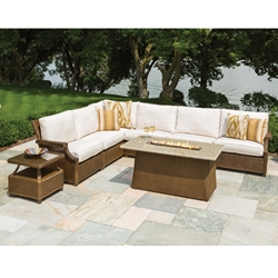 Lloyd Flanders Hamptons Wicker L-Sectional with Fire Table - LF-HAMPTONS-SET12