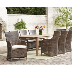 Lloyd Flanders Havana Large Patio Dining Set with Teak Table - LF-HAVANA-SET2