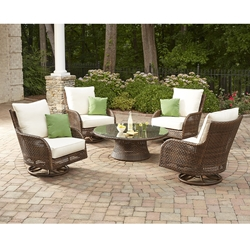 Lloyd Flanders Havana Swivel Rocker Lounge Chair Set with Conversation Table - LF-HAVANA-SET3