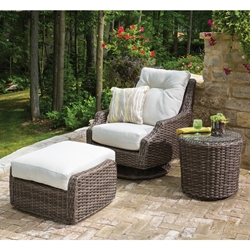 Lloyd Flanders  Largo High Back Swivel Rocker Lounge with Ottoman and Side Table Set - LF-LARGO-SET9