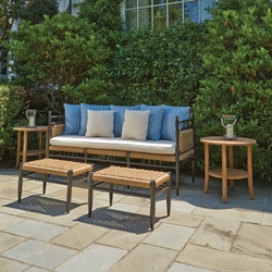 Lloyd Flanders Low Country 3-Seat Garden Bench Set with Ottomans - LF-LOWCOUNTRY-SET18