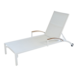 Lloyd Flanders Lux White Stacking Chaise Lounge with Sling and Teak Accents - Set of 2 - 54425-801-308