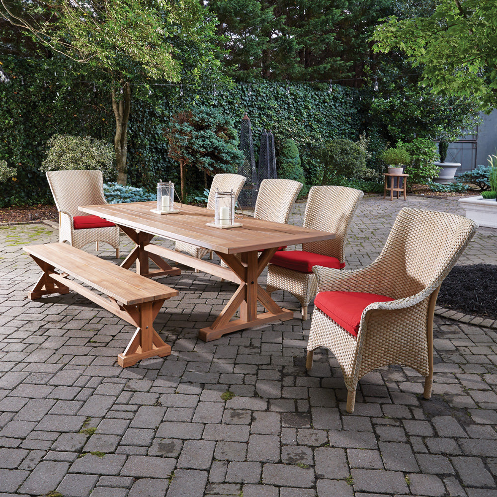 Lloyd Flanders Mandalay Wicker and Teak Patio Dining Set - LF-MANDALAY-SET12
