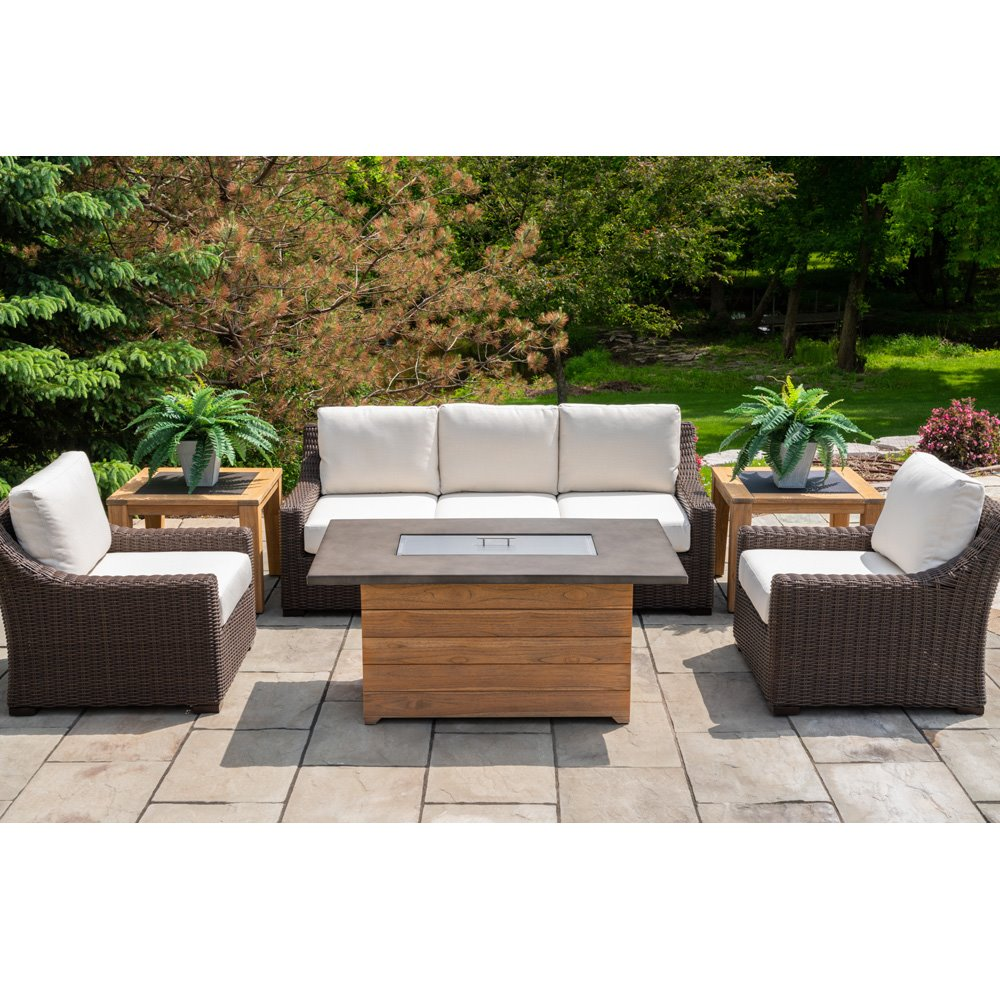 Lloyd Flanders Mesa Wicker Patio Set with Teak Fire Table - LF-MESA-SET18