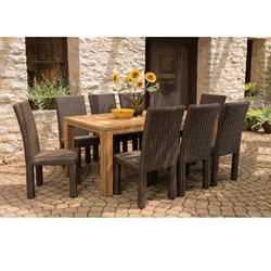 Lloyd Flanders Mesa 9 Piece Dining Set with Teak Table - LF-MESA-SET6