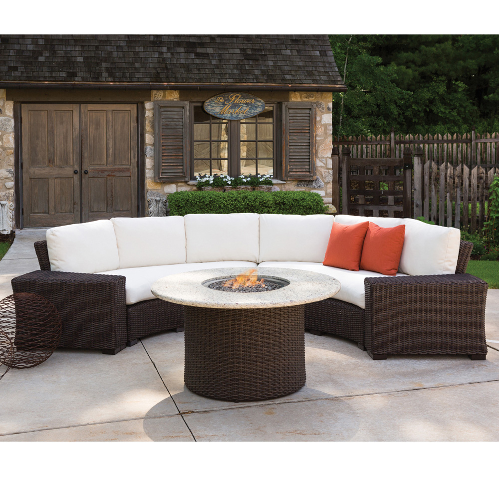 Lloyd Flanders Mesa Curved Sectional Set with Fire Pit Table - LF-MESA-SET7