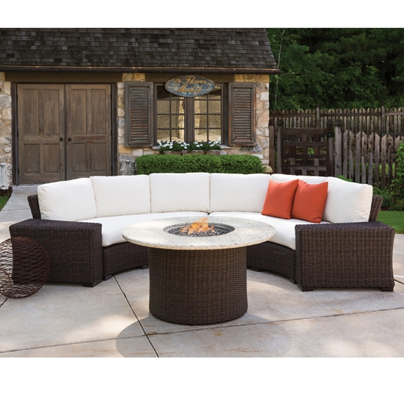 Lloyd Flanders Mesa Curved Wicker Sectional Set With Fire