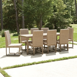 Lloyd Flanders Milan Modern Outdoor Wicker Dining Set for 8 - LF-MILAN-SET1