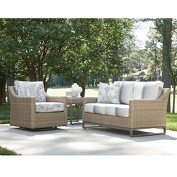 Lloyd Flanders Milan Wicker Loveseat and Swivel Glider Outdoor Wicker Set - LF-MILAN-SET4