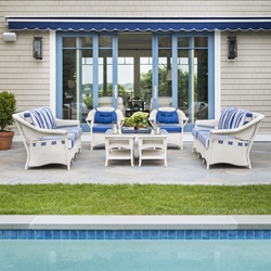 Lloyd Flanders Nantucket Loom Wicker Outdoor Sofa Set with Lounge Chairs - LF-NANTUCKET-SET18