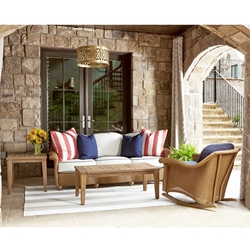 Lloyd Flanders Oxford Loom Wicker and Teak Patio Set - LF-OXFORD-SET10