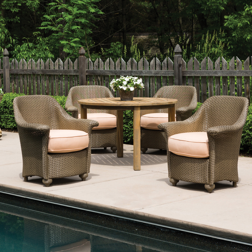 Lloyd Flanders Oxford 5 Piece Patio Dining Set with Teak Table - LF-OXFORD-SET7