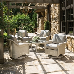 Lloyd Flanders Oxford Wicker Lounge Swivel Glider Chair Set - LF-OXFORD-SET8