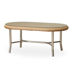 "Lloyd Flanders Quick Ship Weekend Retreat 42"" Oval Cocktail Table with Mini-Random Weave - 86147-QS"