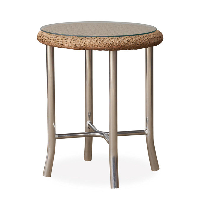 "Lloyd Flanders Quick Ship Reflections 20"" Round End Table with 2x2 Weave - 86220-QS"