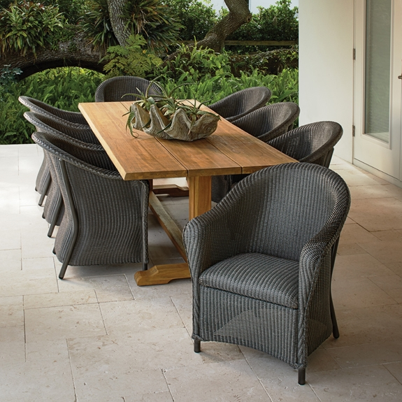 Lloyd Flanders Reflections Outdoor Wicker Dining Set for 8 with Teak Table - LF-REFLECTIONS-SET23