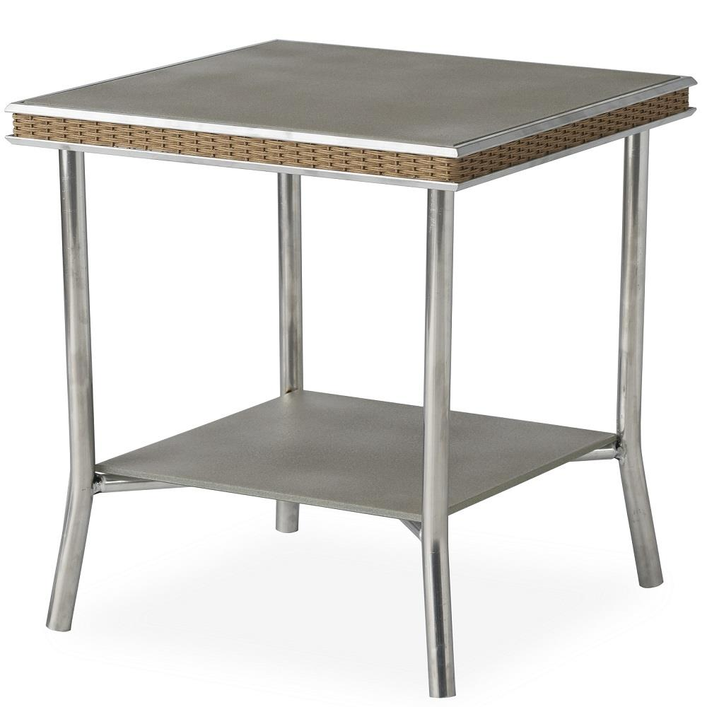"Lloyd Flanders Visions 20"" Square End Table with Taupe Glass - 133043"