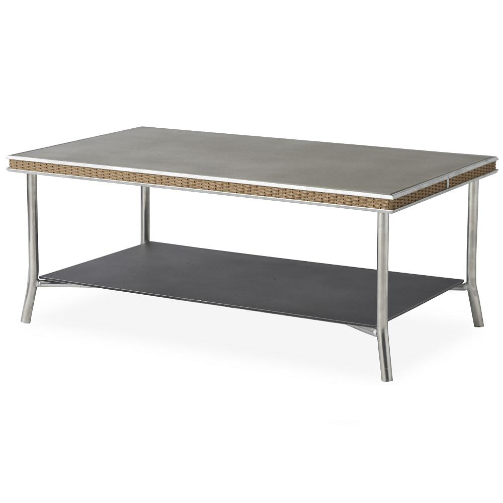 "Lloyd Flanders Visions 42"" Rectangular Cocktail Table with Taupe Glass - 133044"