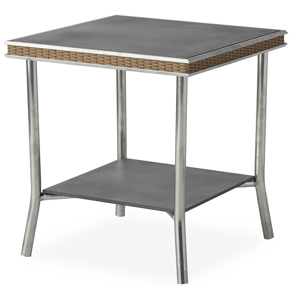 "Lloyd Flanders Visions 20"" Square End Table with Charcoal Glass - 133343"